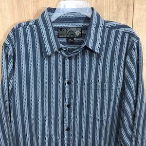 Prana men's button down blue striped shirt XL EUC